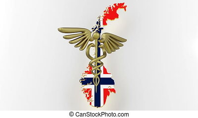 Caduceus sign with snakes on a medical star. Map of Norway land border with flag. Norway map on white background. 3d rendering