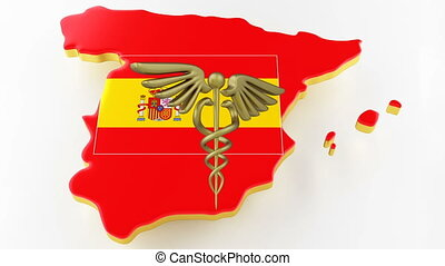 Caduceus sign with snakes on a medical star. Map of Spain land border with flag. Spain map on white background. 3d rendering
