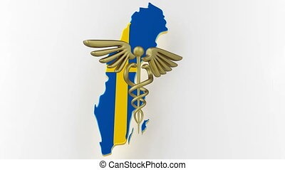 Caduceus sign with snakes on a medical star. Map of Sweden land border with flag. Sweden map on white background. 3d rendering