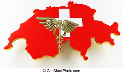 Caduceus sign with snakes on a medical star. Map of Switzerland land border with flag. Switzerland map on white background. 3d rendering