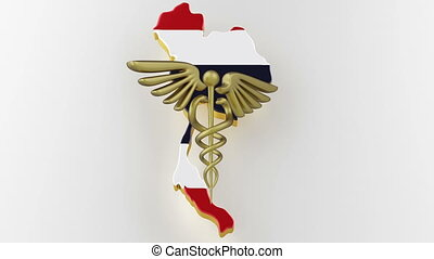 Caduceus sign with snakes on a medical star. Map of Thailand land border with flag. Thailand map on white background. 3d rendering