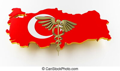 Caduceus sign with snakes on a medical star. Map of Turkey land border with flag. Turkey map on white background. 3d rendering