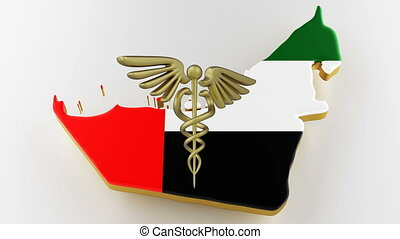 Caduceus sign with snakes on a medical star. Map of UAE land border with flag. UAE map on white background. 3d rendering