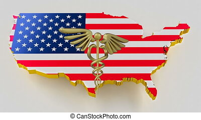 Caduceus sign with snakes on a medical star. Map of USA land border with flag. USA map on white background. 3d rendering