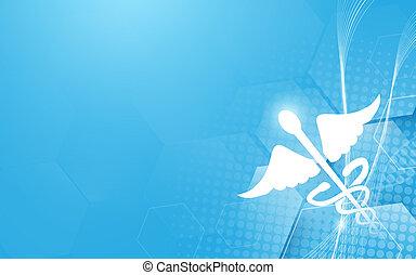 Caduceus symbol and medicine, science technology concept background