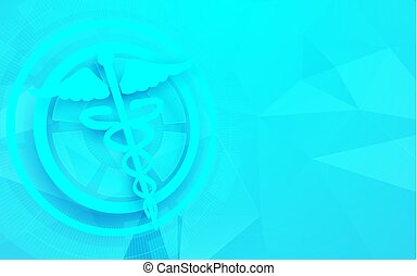 Caduceus symbol and medicine, science technology concept background