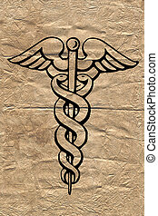 Caduceus symbol on old paper