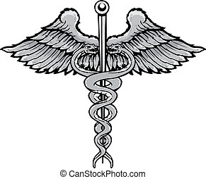 Caduceus the symbol of healing tattoo style vector illustration. Fully editable black and white version. Colour also available
