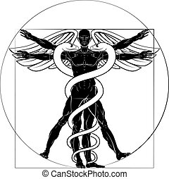 Caduceus Vitruvian Man - Caduceus medical sign with...