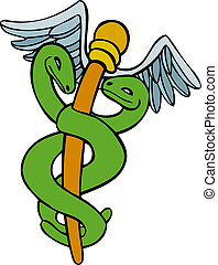 Caduceus Wing isolated on a white background.