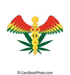 Caduceus with marijuana leaf symbol icon