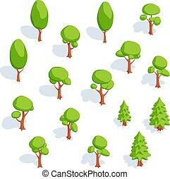 caduco, conjunto, isométrico, picea, árboles.