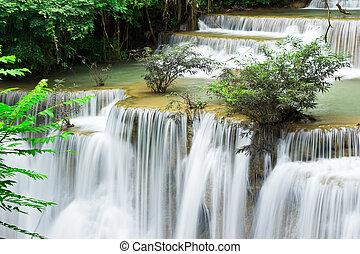 caduta acqua, hua, mae, kamin, livello, 4, kanchanaburi, tailandia