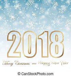 caduta neve, fondo, per, natale anno nuovo, 2018