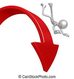 caduta, verso il basso, mercato, freccia