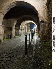 Caelian hill rampant arches at night in Rome