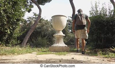 caelian hill vase - big vase at the Villa Celimontana public...