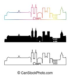 Caen skyline linear style with rainbow