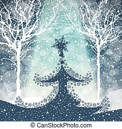 caer, árbol, nieve, feliz navidad