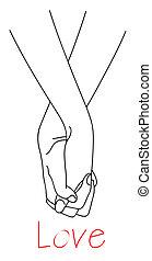 caer, amor, manos