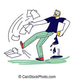 caer, ilustración, charco, carácter, lineal, persona, ...