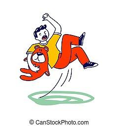 caer, mano, ilustración, oso, charco, carácter, lineal, ...