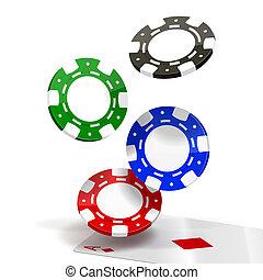 caer, pedacitos, póker