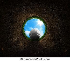 caer, pelota, golf, taza