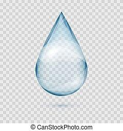 caer, transparente, gota agua, vector, aislado