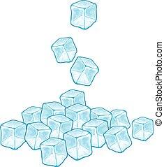 caer, vector, cubitos de hielo