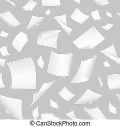 caer, vector, vuelo, oficina, papel, dispersado, claro,...