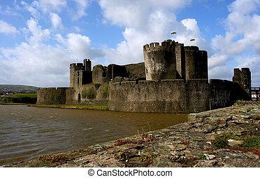 Caerphilly Castle, Wales. - Caerphilly Castle, Wales, United...
