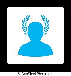 Caesar icon. Icon style is blue and white colors, flat...