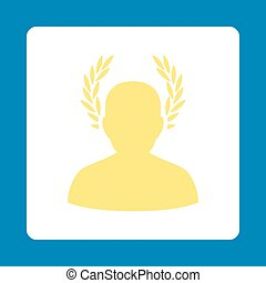 Caesar icon. Icon style is yellow and white colors, flat...