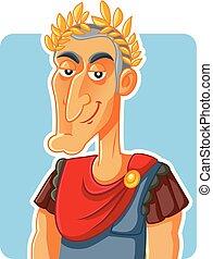 caesar, kejsare, julius, karikatyr, romersk, vektor