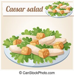 Caesar salad. Detailed Vector Icon. Series of food and drink...