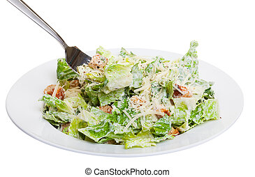 Healthy ceasar salad isolated on white