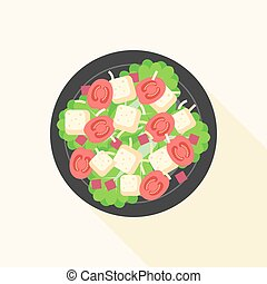 Caesar salad in bowl, design vector with long shadow
