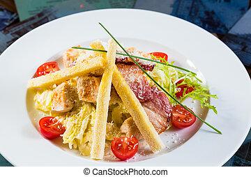 Caesar salad made of fresh vegetabl