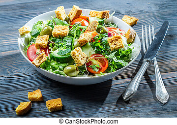 Caesar salad made of fresh vegetables