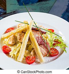 Caesar salad made of fresh vegetables