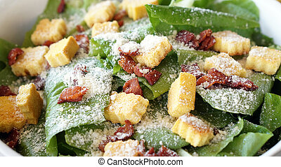 Caesar salad, organic green vegetable with parmesan cheese...