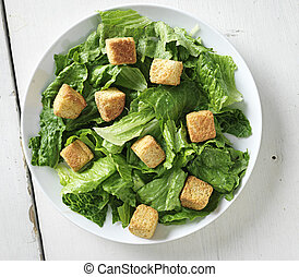 caesar salad shot from top down view