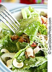 caesar salad with fork