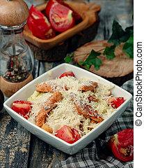 Caesar salad with fried chicken 1