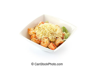 caesar salad with shrimp on a white background isolated