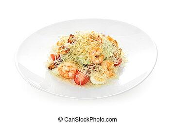 Caesar salad with shrimps on white background isolated