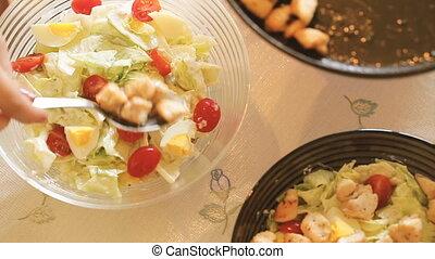 Caesar salads at home close-up