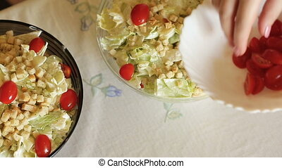 Caesar salads at home close-up