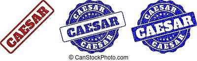 CAESAR Scratched Stamp Seals - CAESAR grunge stamp seals in...